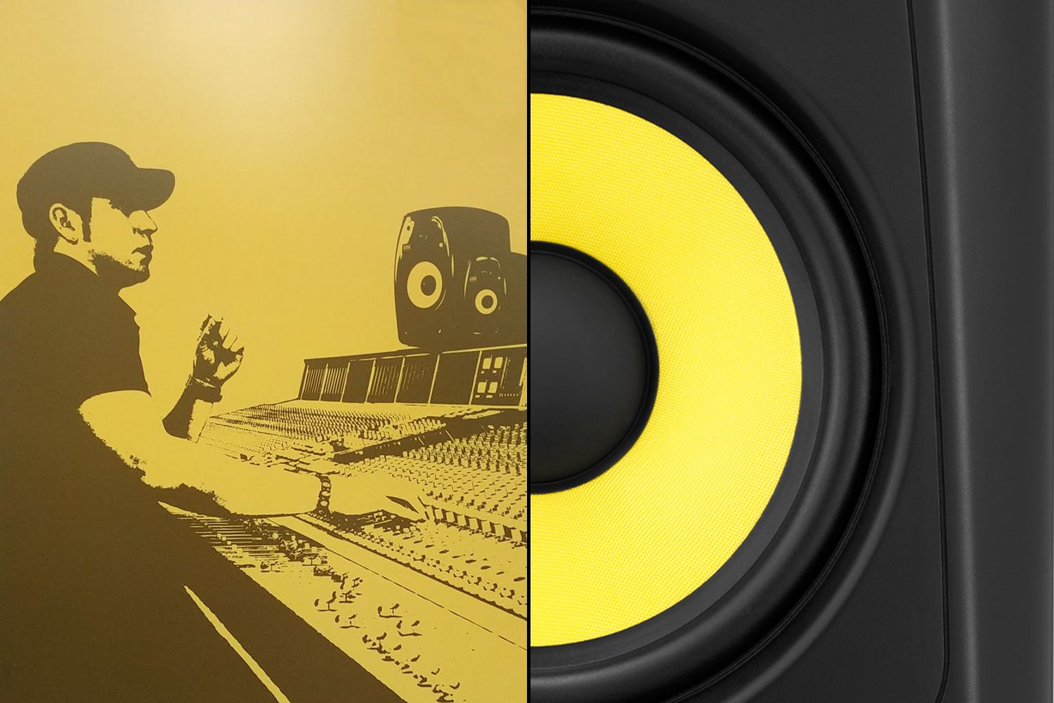krk poster and iconic yellow speaker cone