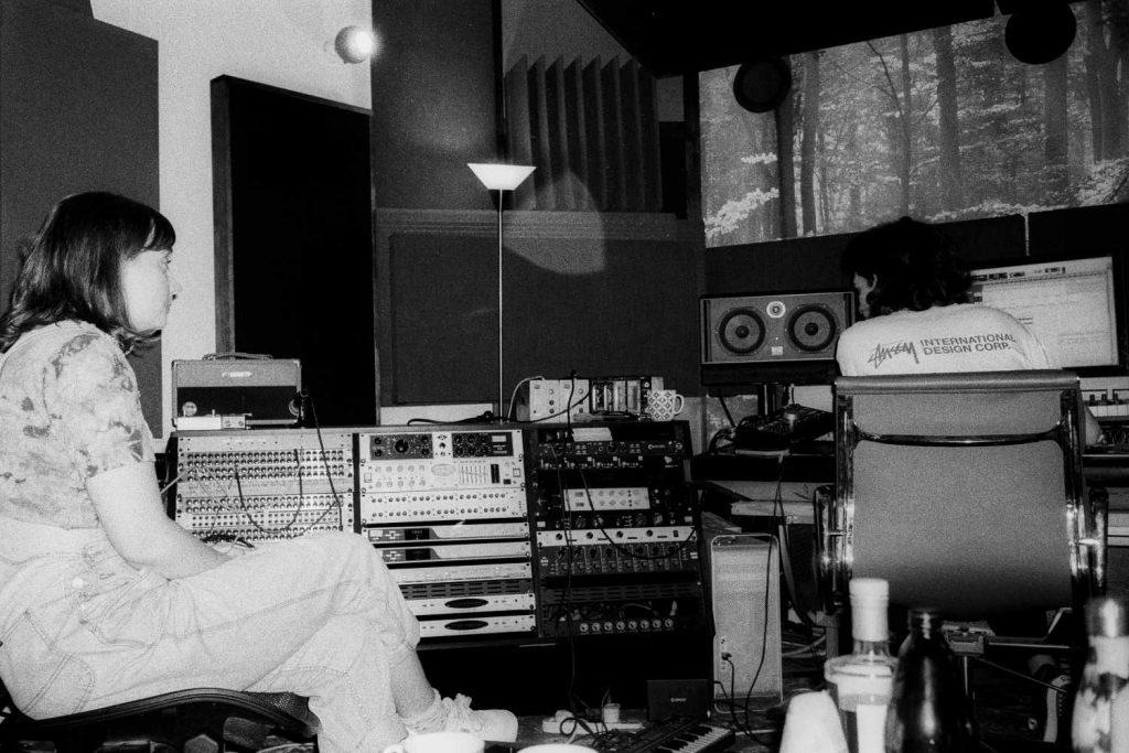 asha jefferies and aidan hogg in a recording studio