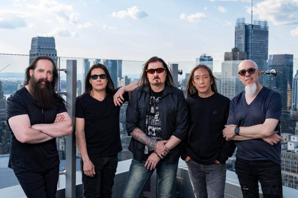 Dream Theater band standing on a balcony