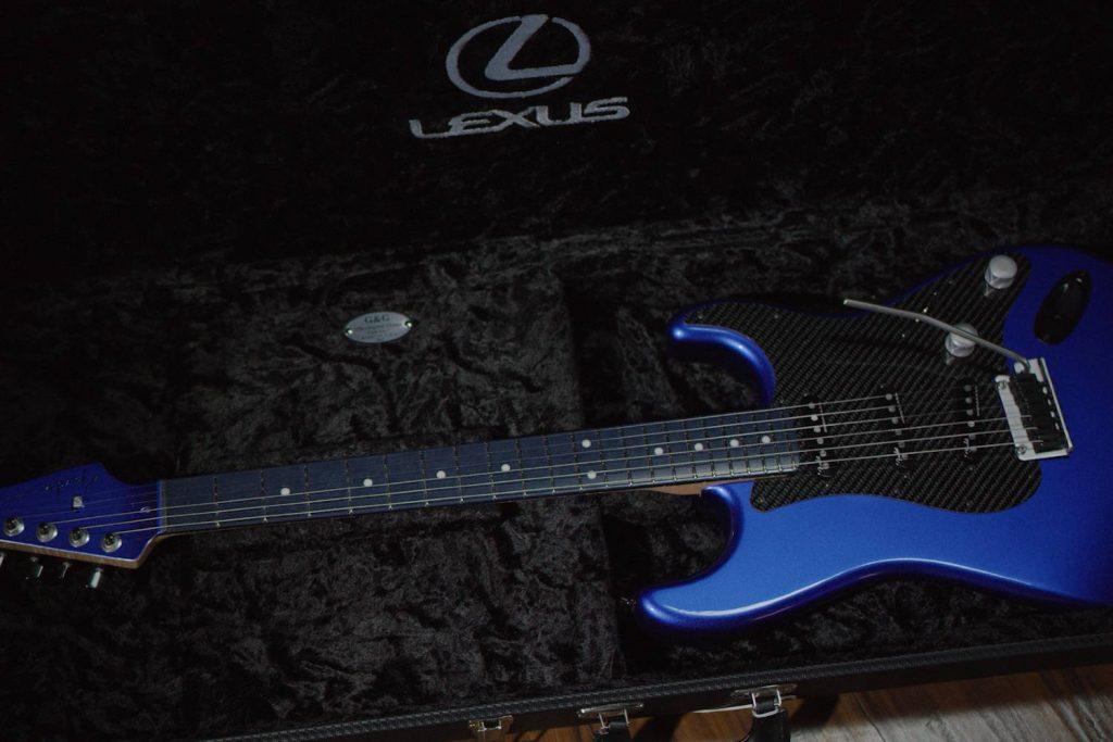 Fender Lexus LC Stratocaster inside open case